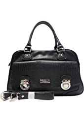Dasein Croco Texture Satchel Bag w/ Front Buckled Pocket -Black