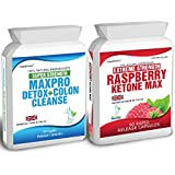 90 Raspberry Ketones Max + 60 Colon Cleanse Detox (2500mg Daily Formula) Free Meal Plan & Dieting Tips Extreme Strength