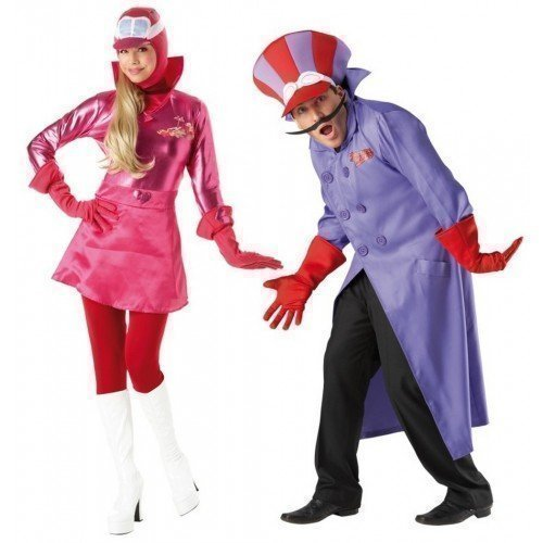 Couples Matching Wacky Races Dick Dastardly & Penelope Pitstop Costume Set for Adults