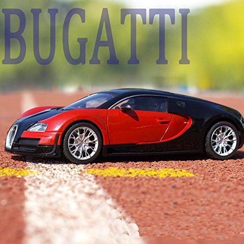 Tourwin Toy car 1:18 Bugatti Veyron simulation black red static car model collection decoration alloy children's toys doors can open