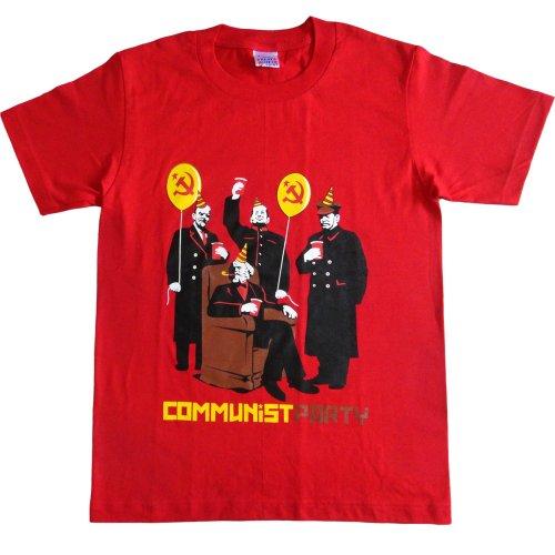 ジョークTシャツ コミュニストのパーティ レッド (Mサイズ)