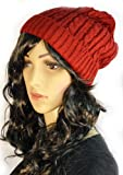 Winter Women Lady Baggy Beret Chunky Knit Knitted Braided Beanie Hat Ski Cap