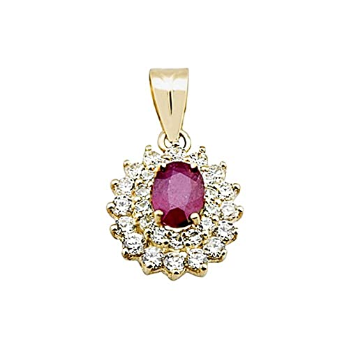 18k gold oval pendant double zircons ruby ??rennet center [AA4827]