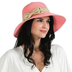 Luxury Lane Women's Small Brim Straw Sun Hat with Side Double Bow Accent by Luxury Lane