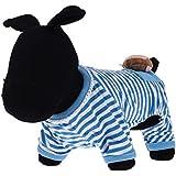 PetWell Adorable Cute Soft Dog Pjs Pajamas Shirt Stripes Jumpsuit Clothes Blue M