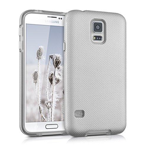 kalibri-Armor-Hlle-fr-Samsung-Galaxy-S5-S5-Neo-TPU-Silikon-und-Kunststoff-Case-in-Silber