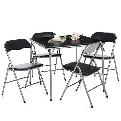 IKAYAA Set Tavolo e Sedie Arredo Metallo Pieghevole Cucina Tavolo da Pranzo Sedia 5PCS