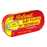 Roland Flat Anchovies in Olive Oil, Salt Added, 2-Ounce Tins (Pack of 25)