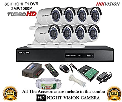 Hikvision DS-7208HQHI-E1 8Ch Dvr, 8(DS2CE16DOT-IRP) Bullet Camera (With Mouse, Remote, 1TB HDD, Cable, Bnc&Dc Connectors,Power Supply)
