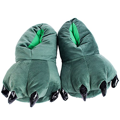 Vvhome(Tm) Warm Indoor Shoes Plush Animal Claw Slipppers Warmer For Women And Men (Dark Green)