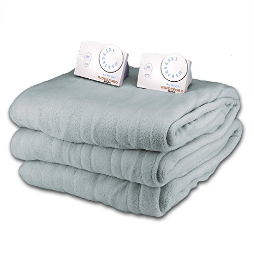 Fantastic Deal! Soft Microplush Queen Size Electric Heated Blanket by Biddeford (Pewter)