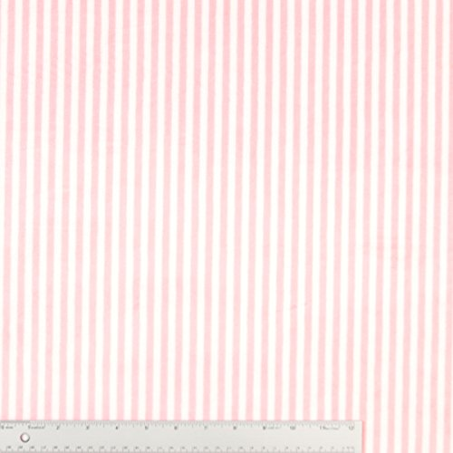 Pink And White Stripe Minky Plush Fabric - 10 Yards front-247029