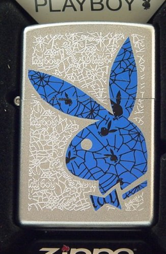 Geiles Satin Silver PLAYBOY ZIPPO neu+ovp SPIDER WEB