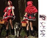 【ELEEJE】 人気 の コスプレ 仮装 ハロウィン クリスマス レディース 赤ずきん 【 赤ずきんコスチューム と 赤い頭巾 タトゥシール の セット 】