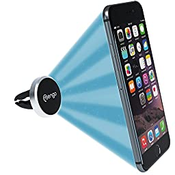 Mengo Slim-Snap Aluminum Magnetic Air Vent Car Mount Holder For (iPhone, Samsung, HTC, LG, Nokia, Blu, iPods, GPS) - Universally Compatible