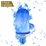 Texsens LED Blue Flame Effect Light Bulbs - 4 Modes Flickering Fire Flame with Upside-down Effect, Simulated Decorative Lights Vintage Flaming Lamp for Halloween/Christmas Decoration/Party/Bar- 2 Pack (Color: Blue Flame, Tamaño: 4 modes flame bulb(blue))