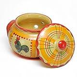 ポルトガル製 陶器 ガーリックポット ルースター柄 手描き にわとり おしゃれ ニンニク 保存 黄色 pfa-43a-rs