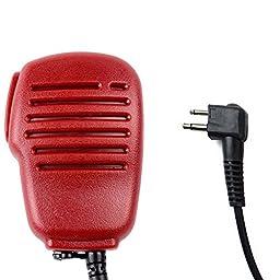 IFeng® 3.5mm Mono Jack PTT Handheld Shoulder Speaker MIC Waterproof IP54 Frosted Shell for Motorola Radio CLS1413 CLS1450 CLS1450C MV12CV MV21C MV21CV LTS2000 VL130 PMR446 ECP100(Red)