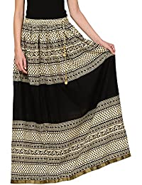 Saadgi Rajasthani Hand Block Printed Handcrafted Pure Rayon Lehnga Skirt For Women/Girls - B06XGJ27DC