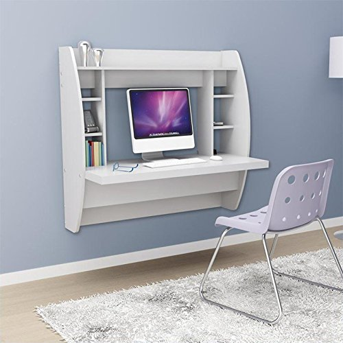 prepac white floating desk for teens with storage