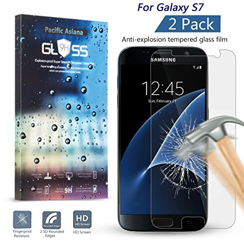Galaxy S7 Screen Protector [2-PACK], Pacific Asiana 0.3MM Slim HD Clear Ballistic [Tempered Glass] Screen Protective Skin Cover for Samsung Galaxy S7 with Anti-scratches/Anti-fingerprints/Best impact