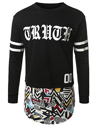 Urbancrews Mens Hipster Hip Hop F. Terry Longline Long Sleeve Shirt Black Xlarge