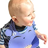Hominize Ultra Soft Silicone Bib with Smart Food Catcher ♥ Comfy 3-Way Fitting Suitable for Toddlers/Infants of All Ages ♥ Waterproof and Easily Wipes Clean ♥ FREE Gift Baby Led Weaning Ebook