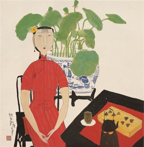 The Cotton Canvas Of Oil Painting 'Hu Yongkai,Woman Tasting Tea,2009' ,Size: 24X25 Inch / 61X62 Cm ,This Imitations Art Decorativecanvas Prints Is Fit For Bar Decoration And Home Decor And Gifts