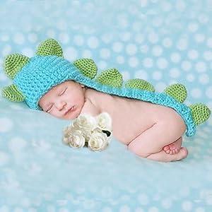婴儿写真拍照道具 可爱的恐龙服装钩针编织