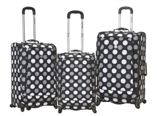 Rockland Luggage Fusion 3 Piece Luggage Set, Black Dot, Medium best offers