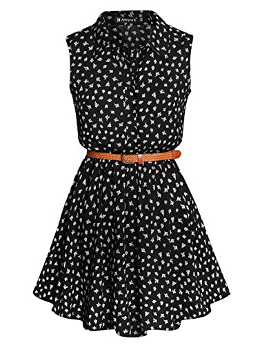Allegra K Women Daisy Print Point Collar Sleeveless Belted Shirt Dress Black L