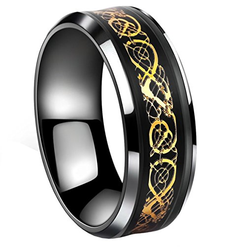 Tanyoyo Black Celtic Dragon Titanium steel Carbide Ring Gold Carbon Fibre Wedding Band Jewelry Size 5-14 (10)