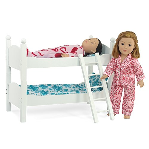 white bunk bed doll furniture fits 18 inch american girl dolls includes new ebay. Black Bedroom Furniture Sets. Home Design Ideas