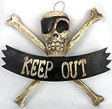 LG 12 inch Hand Carved Wood Pirate Skull Cross Bone