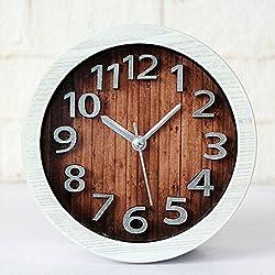 Alrens_DIY(TM) 3D Wood Pattern Clocks Round Vintage Modern Design Creative 3D Desk Clock Silent Non-ticking Home Decor Quartz Alarm Clock (White)