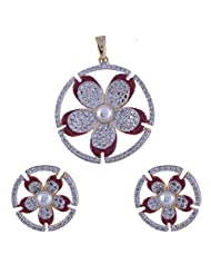 Nimbark Traders Brass And Metal White & Red Color Designer Pendent Set With Earrings For Women - B00RFRGO3S