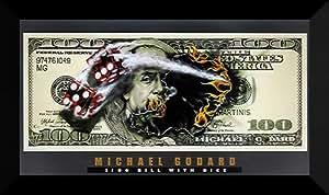 "Michael Godard Framed Art 40x24 ""$100 Bill with Dice"""