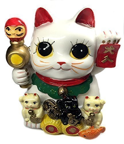 Feng Shui Big Eyes Maneki Neko Lucky Cat Coin Bank for Wealth - 1