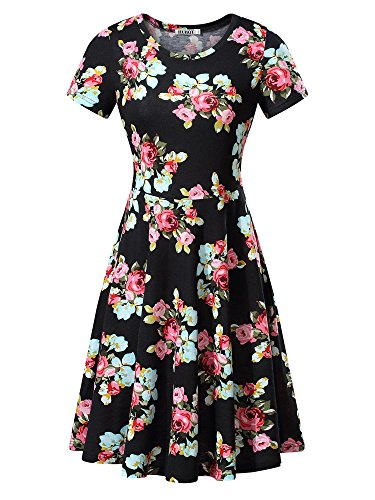 Women Short Sleeve Round Neck Summer Casual Flared Midi Dress (Medium, Red Peony)