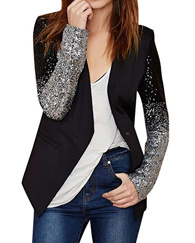 ZongSen Donna Sottile Fit Paillettes Cardigan Giacche Blazer Suit Coat Jacket Top Outwear Nero L