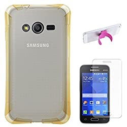 DMG Ultra Thin Flexible TPU Extra Protection and Grip Back Cover Case For Samsung Galaxy Ace NXT SM-G313H / S Duos 3 SM-G313 (Golden) + Touch U Silicone Stand + Matte Screen