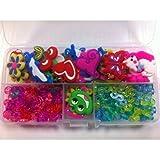 Hengsong - 50 x Chic Charms / Anhänger / Zubehör 100 x S-Clips 100 x C-Clips + 3 x Haken für Bunte Gummi-Band Loom