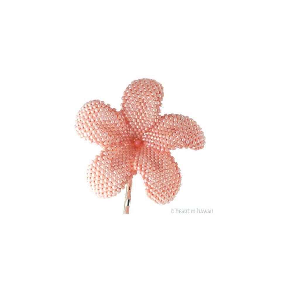 24kt Gold-Plated Beads Heart in Hawaii Beaded Plumeria Flower Brooch