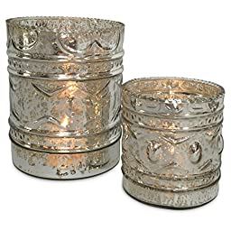 The Heritage Home Exquisite Silver Mercury Glass Votive Candle Cup Holders, Set of 2, Handcrafted Blown and Molded, Rustic Lacquered Glass, 3 and 4 ¾ inches, (7.5 and 12 cm.) By Whole House Worlds