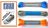 SPORTSMAN - Never tie the laces again. (3 pairs lace) Neon Orange, Lt. Grey & Royal Blue Laces with the Shoe Lace Lock - COMBO PACK