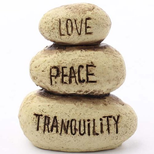"Miniature Decorative Zen Stacking Stones with the Words ""Love"" Peace"" and ""Tranquility"" for Fairy Gardens, Crafting and More"
