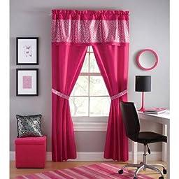 Your Zone sparkle 5-piece window panel set, Pink
