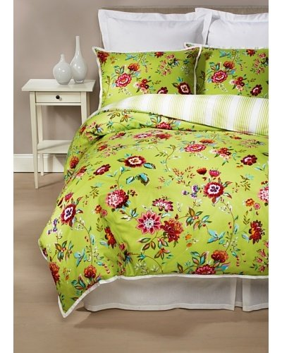 Tommy Hilfiger 3-Piece King Lime Green Floral Comforter Duvet Cover Set Rooftop Terrace 100% Cotton front-1043881