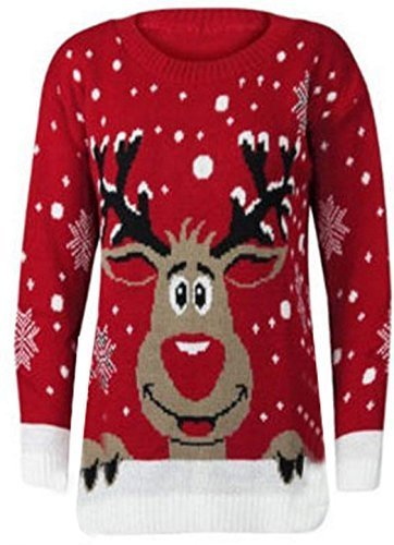 New Womens Reindeer Christmas Xmas Gift Jumper Knitted Jumper Ladies Size 8-30