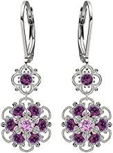 Lucia Costin Silver, Lilac, Violet Crystal Earrings with Twisted Lines